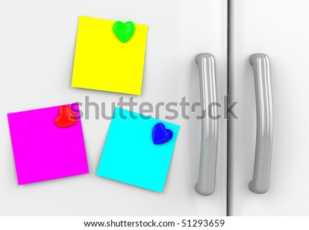 Blank yellow note with  hearts on the fridge