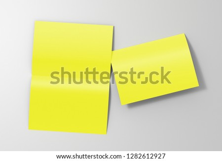 Blank yellow open and folded half-folded flyer leaflet on white background. With clipping path around brochure. 3d illustration