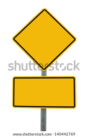 Blank yellow road sign  isolate on white
