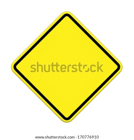 Blank yellow road sign on white background #170776910