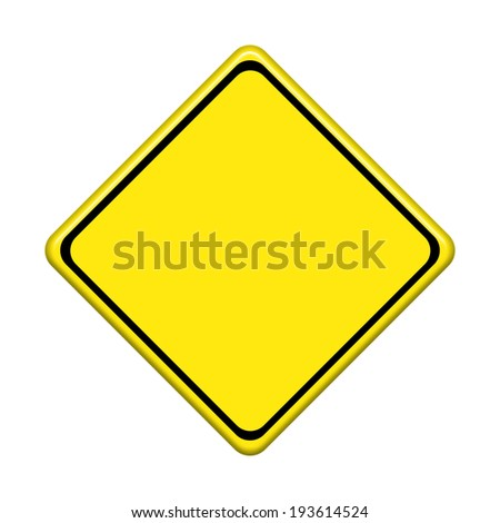 Blank yellow road sign on white background #193614524