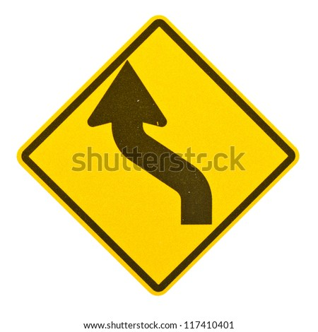 Blank yellow road sign on white background with clipping path.