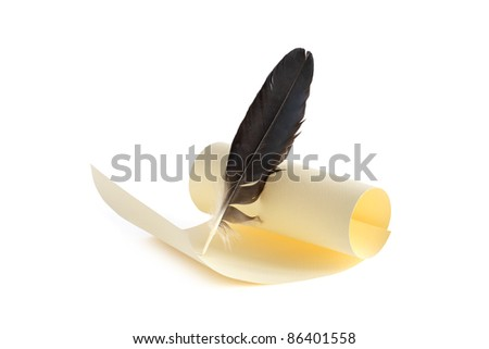 Blank yellow scroll and quill pen on white background