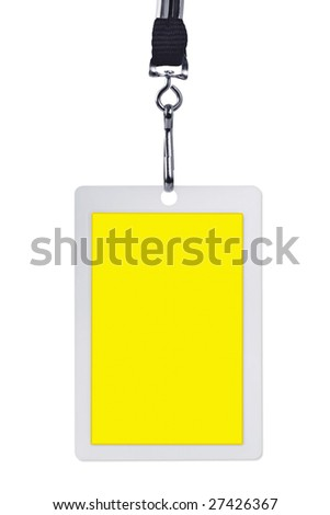 Blank yellow security identification pass on a lanyard, isolated on white. - stock photo