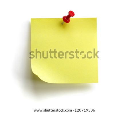Blank yellow sticky note with red push pin isolated on white background