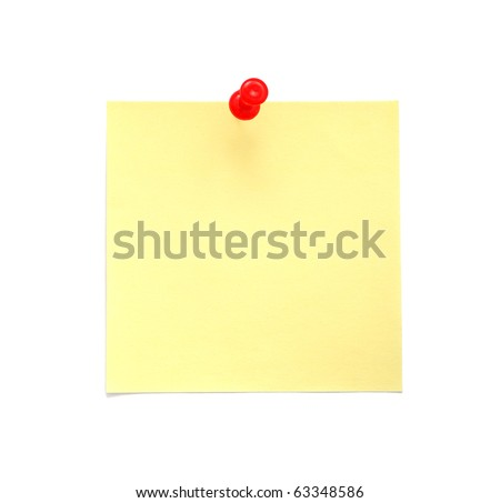 Blank Yellow Sticky Note with Red Pushpin