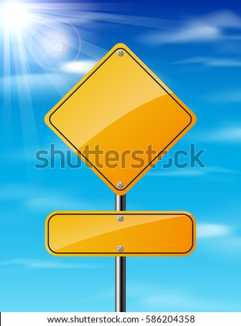 Blank yellow traffic road sign on sky background