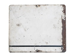 Blanked rusted retro steel signboard plate isolated on white background. Rusty plate with frame and grunge texture for your text.