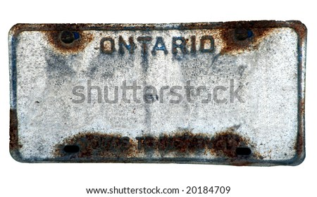 Blanked rusted vehicle license plate