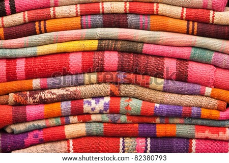 Blankets For Sale In Sagarnaga Street, La Paz, Bolivia Stock Photo