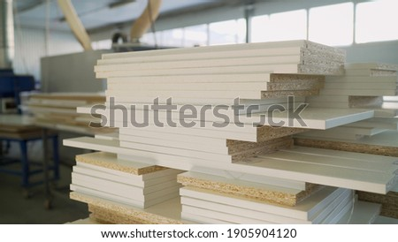 Blanks for wooden furniture at the factory. Joiner's shop. Wooden blanks for furniture. Furniture repair. Furniture workshop. Photo stock ©