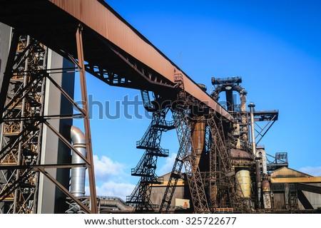 Blast furnace plant in steel industry, UK