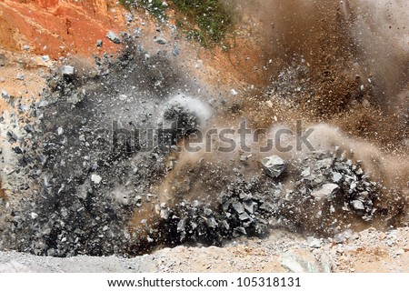 Blast in open cast mining quarry