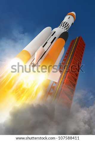 Blast Off A rocket launching into space