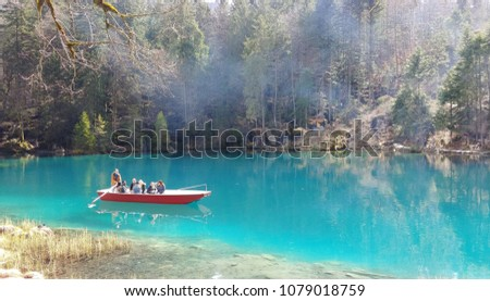 Blausee (Blue Lake), Kander Valley, Switzerland