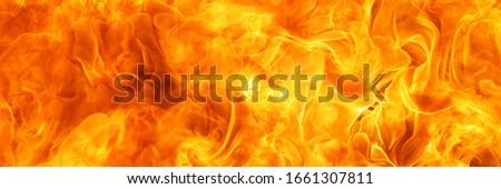 blaze fire flame conflagration texture for banner background, 3 x 1 ratio Foto d'archivio ©