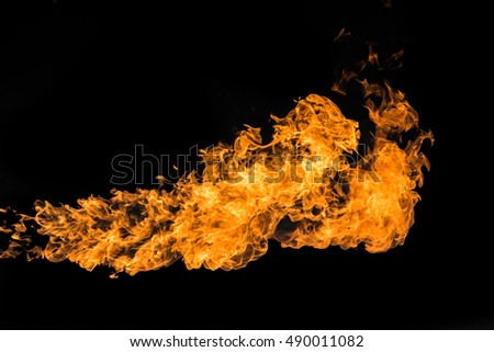 Blaze of flame on black background