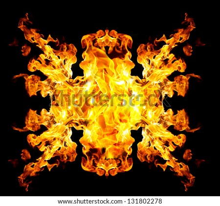 Blazing Fire Blazing Fire Shape Over Black