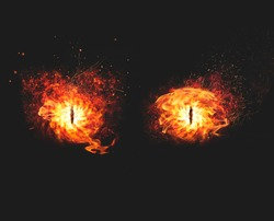 Blazing flames of fire for a demon eyes artwork on dark background