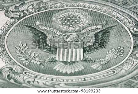 Blazon of USA on the banknote of dollar