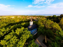 Ble chapel in Balatonboglar Hungary. The chapel it has on the Saint Erzsebet park next to red chapel..kormendí family built this in 1856.