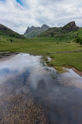 Blea Tarn with Side Pike and the Langdale Pikes beyond