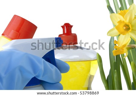 Bleach, washing up liquid, and a spray bottle beside some daffodils.  A hand in a rubber glove reaches in from lower left frame to pick up a cleaning product.  White background.