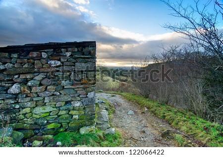 Bleak Stone Shelter at Ingleton Falls, UK - stock photo
