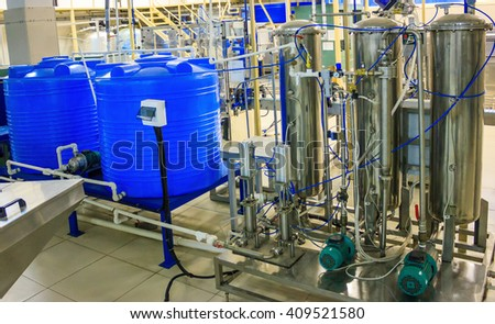 Blend coupage tank and mixer carbonator (saturator) for water and beverages in food processing industry