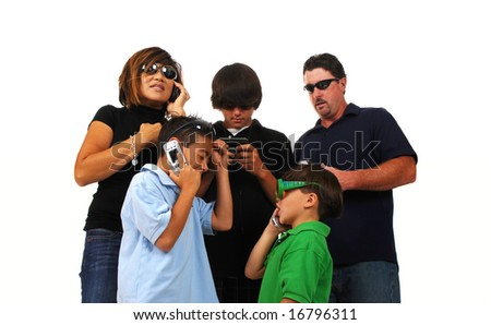 Blended family of five talking on cell phones