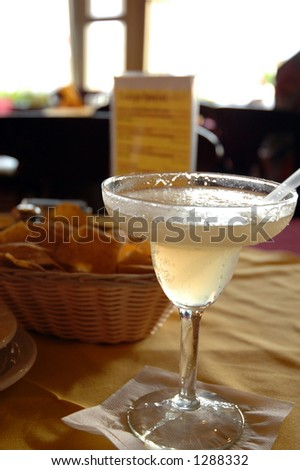 Blended margarita on a table in a restaurant