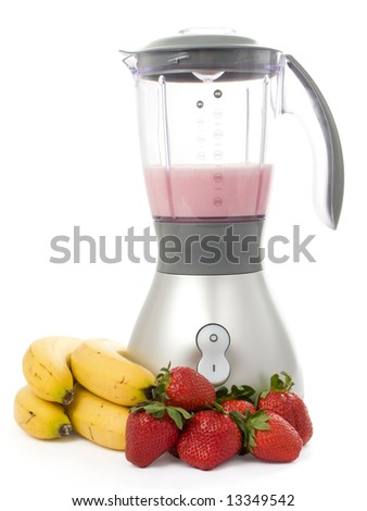 Blender with strawberries and bananas isolated on white background