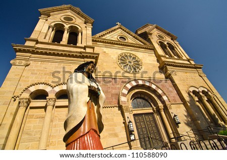 Blessed Kateri in front of the Cathedral Basilica of St. Francis of Assisi