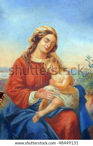 Blessed virgin mary with baby jesus stock photo 48449131