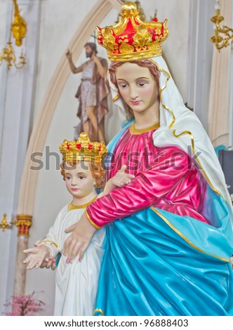 Stock photo blessed virgin mary with baby jesus in thailand 96888403