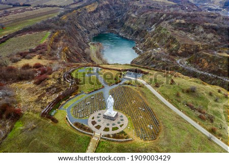 Blessing Jesus Christ monument in Tarcal Hungary. Giant religious statue next to Tarcal mine lake which same like than a tarn Stock photo ©