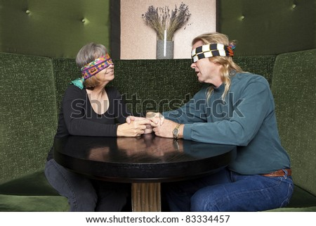 Blind date mature couple