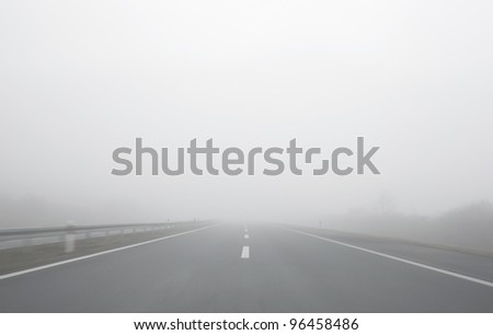 Blind foggy motion ride on highway