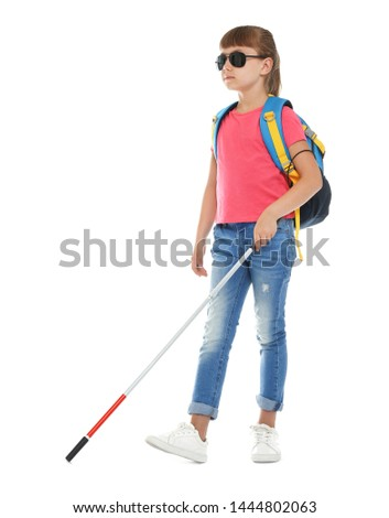 Blind girl with long cane walking on white background #1444802063