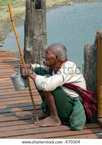 Blind Man, U Beines Bridge, Myanmar (Burma)