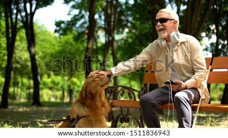 Blind man with earphones stroking dog, full life of impaired, enjoying time Foto stock ©