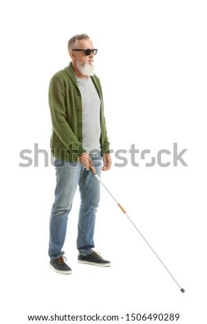 Blind mature man on white background #1506490289