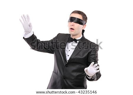Blindfold elegant man isolated on white background