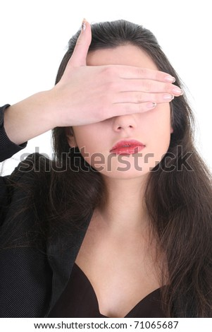 Blindfolded business woman in black suit