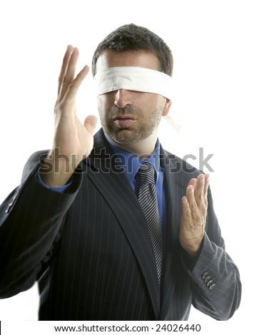 Blindfolded businessman over white background, defense martial arts - stock photo