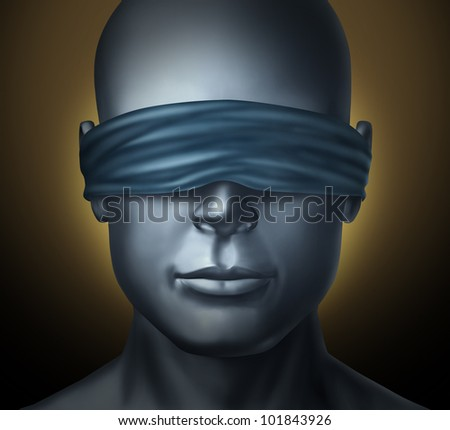 Blindfolded concept with a human head with a blindfold as an icon of honesty and being a neutral judge with trust and blind justice or living with solitude fear and loneliness as a  hostage.