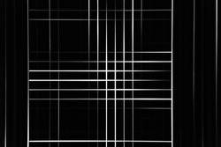 Blinds on windows glowing in darkness. Abstract  technology, office interior design or modern architecture background photo. Geometrical structure of irregular white stripes or parallel lines on black