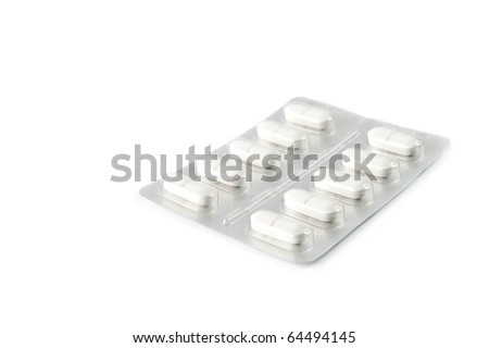 Blister pack of pills isolated on white