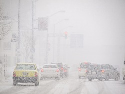 Blizzard on the Road and bad Visibility in Hokkaido, Japan.