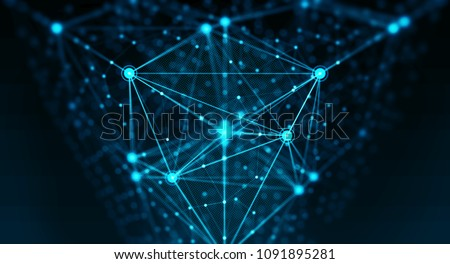 Block chain network concept, Distributed register technology, background made of line, circles  and particles. 3D Rendering Stock photo ©